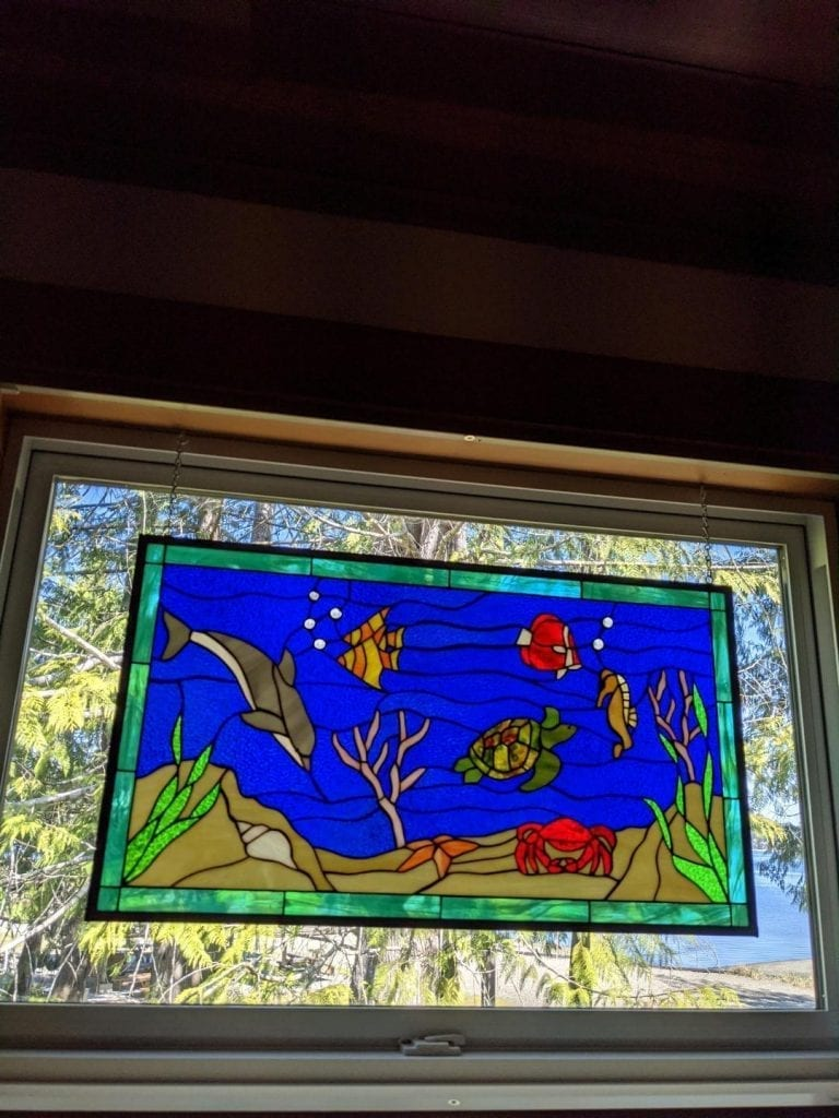 Sealife Stained Glass Window Hung with Hooks and Chains