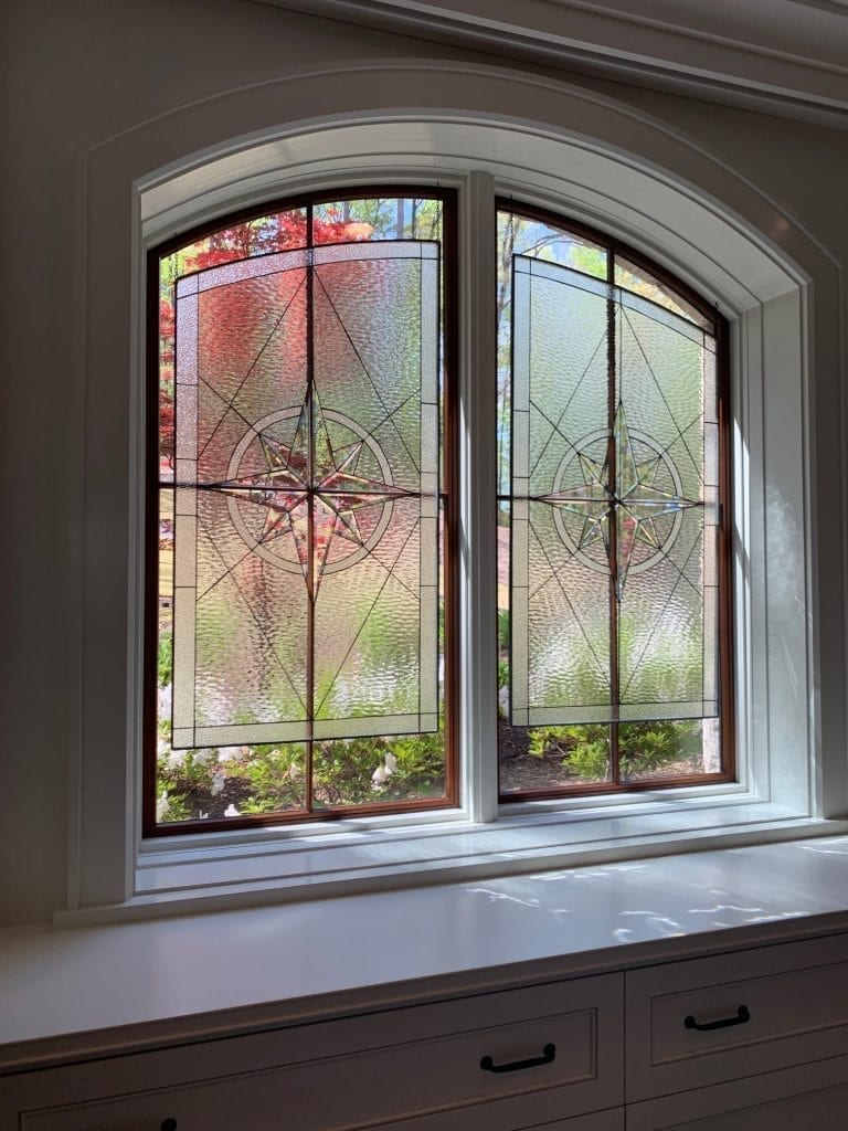 Clear Stained Glass Window Hung in front of their current window, provide privacy and beauty