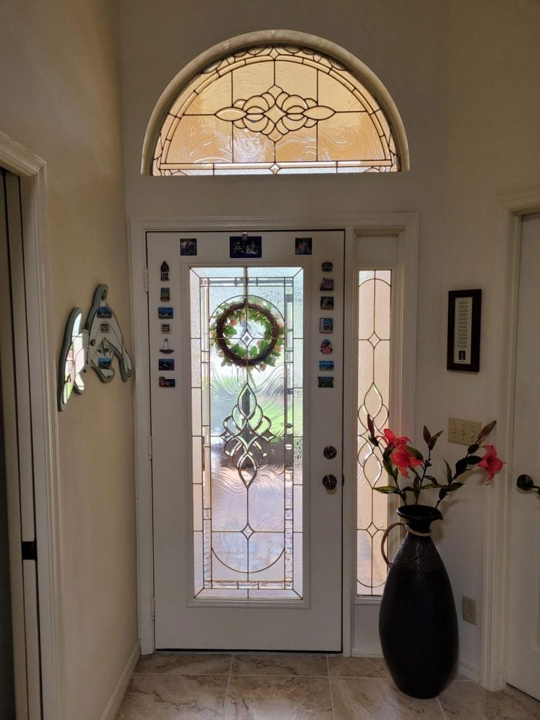 Clear and Beveled Stained Glass Transom Window with minimal install