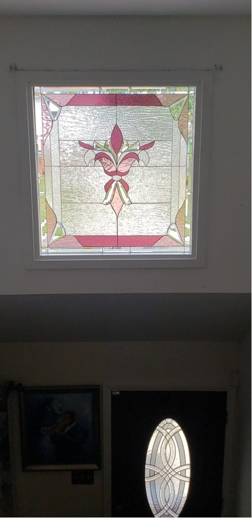 Large Clear Beveled Transom Window with a touch of Pink