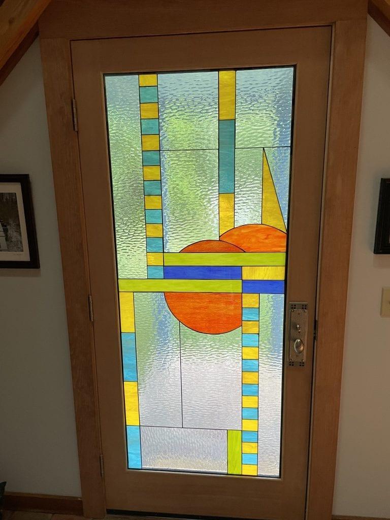 Jardin door using Stained Glass