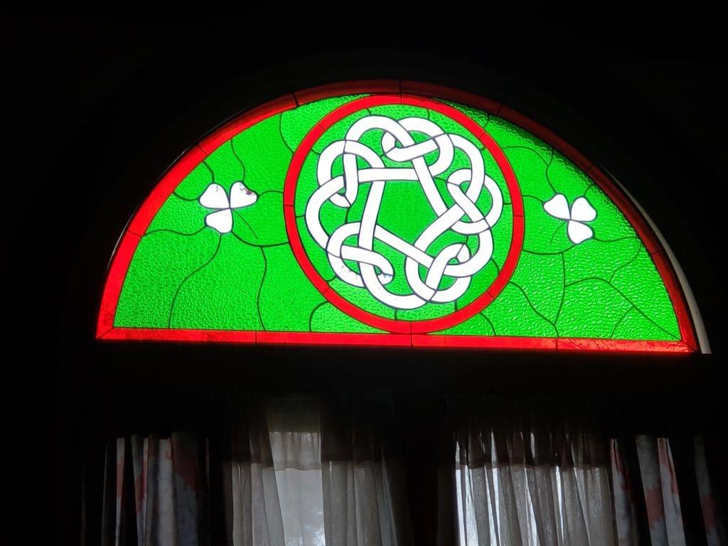 Gorgeous! Celtic Knot & Shamrocks transom window