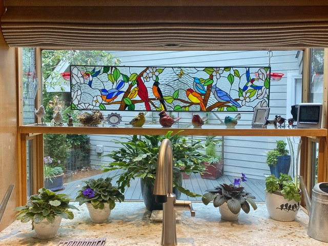 Hummingbirds and birds Stained Glass