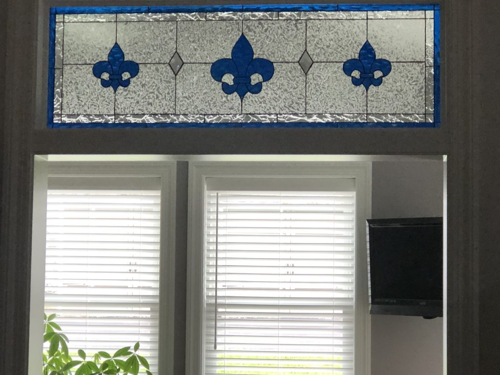 """Beautiful """"Galway"""" Classic Fleur De Lis Stained Glass Transom Window"""