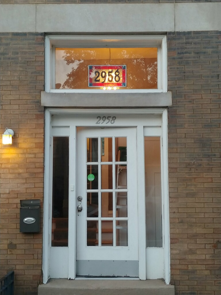 Stained Glass hanging address window