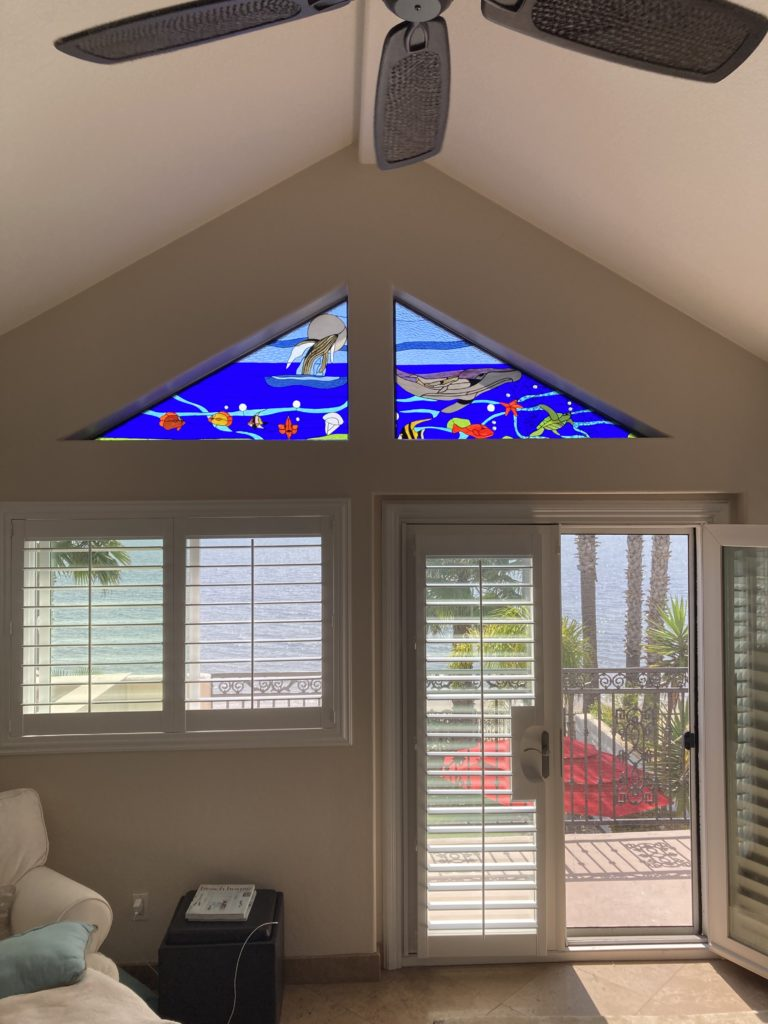 Wow! Whales and Sealife Stained Glass Transom window